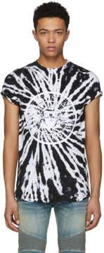 Balmain Black and White Tie-Dye Logo T-Shirt