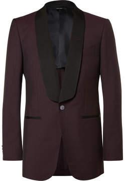 Dunhill Burgundy Slim-Fit Slub Wool Tuxedo Jacket