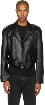 Pyer Moss Black Oversized Cropped Leather Jacket
