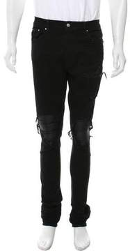 Amiri Distressed Leather-Trimmed Jeans w/ Tags