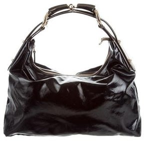 Gucci Leather-Trimmed Horsebit Hobo - BLACK - STYLE