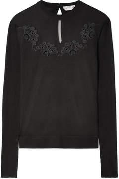 Fendi Mesh-paneled Embroidered Silk Sweater - Black