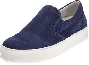 Bugatchi Monaco Suede Slip-On Sneaker, Blue