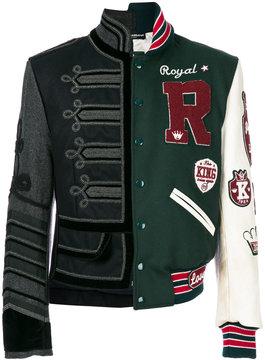 Dolce & Gabbana asymmetric patch bomber jacket
