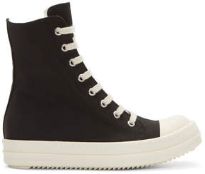 Rick Owens Black and Off-White Canvas Vegan Sneakers