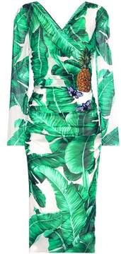 Dolce & Gabbana Printed embellished silk-blend wrap dress
