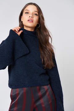 NA-KD Na Kd Bell Sleeve High Neck Knitted Sweater