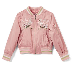 Urban Republic Rose Smoke Floral-Embroidered Sateen Bomber Jacket - Infant & Girls