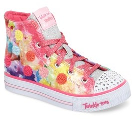 Skechers Girl's Twinkle Toes Shuffles Light-Up High Top Sneaker