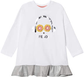 Fendi White and Silver Fendirumi Jersey and Woven Dress