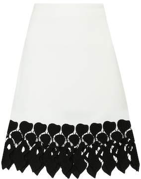 David Koma Lace-trimmed cady skirt