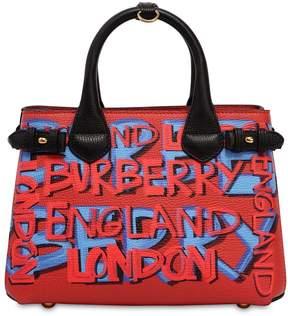 Burberry Small Banner Graffiti Print Leather Bag