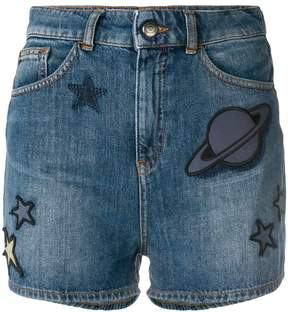 Emporio Armani space patch denim shorts