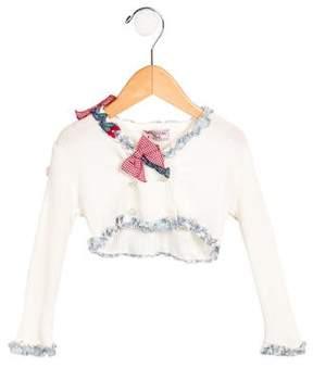 MonnaLisa Girls' Bow-Adorned Ruffle-Trimmed Cardigan w/ Tags