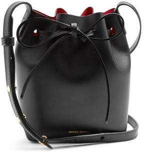 Mansur Gavriel Red Lined Mini Mini Leather Bucket Bag - Womens - Black Red