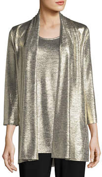 Caroline Rose Reflection Knit Metallic Easy Cardigan