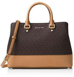 MICHAEL Michael Kors Savannah Logo Large Satchel - BROWN/ACORN/GOLD - STYLE