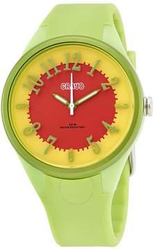 Crayo Burst Orange and Yellow Dial Green Plastic Ladies Watch