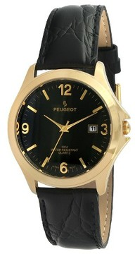 Peugeot Watches Men's Round Leather Strap Watch - Black