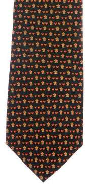 Salvatore Ferragamo Loving Hut Print Silk Tie