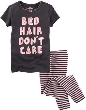 Osh Kosh Oshkosh Bgosh Girls 4-14 Bed Hair Don't Care Tee & Striped Bottoms Set