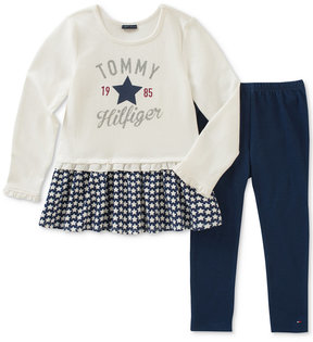Tommy Hilfiger 2-Pc. Star-Ruffle Tunic & Leggings Set, Little Girls (4-6X)