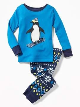 Old Navy Penguin Snowboarder Sleep Set for Toddler & Baby