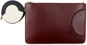 Co Burgundy Leather Clutch Bag
