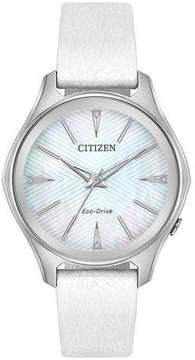 Citizen Modena Mother Of Pearl Dial Ladies Leather Watch EM0598-01D