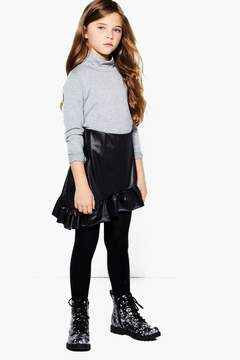boohoo Girls PU Ruffle Asymmetic Skirt