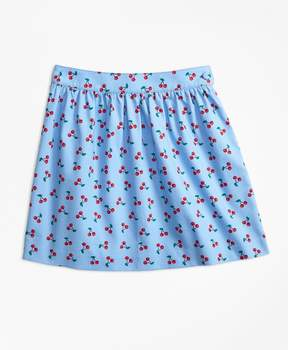 Brooks Brothers Cotton Pique Tossed Cherry Print Skirt