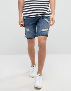 Pull&Bear Distressed Denim Short In Dark Wash