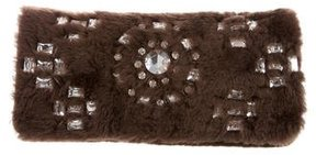Tory Burch Fur Embellished Clutch - BROWN - STYLE