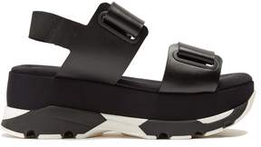 MARNI Velcro-strap leather slingback platform sandals