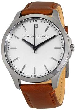 Armani Exchange Grey Dial Brown Leather Men's Watch