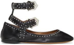 Givenchy Black Double Buckle Soft Ballerina Flats