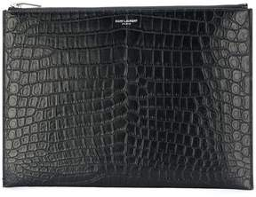 Saint Laurent crocodile embossed ID tablet holder