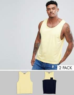 Brave Soul 2 Pack Plain And Block Contrast Pocket Tank