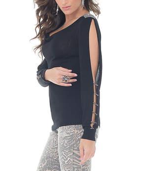 Belldini Black Rhinestone Cowl Neck Sweater - Women