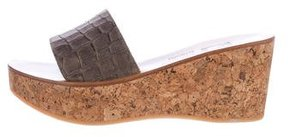 K Jacques St Tropez Embossed Wedge Sandals
