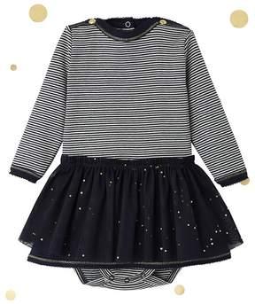 Petit Bateau BABY GIRLS MIXED FABRIC DRESS