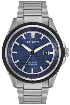 Citizen TI+IP AW1450-89L Silver/Navy Blue Metal Eco-Drive Men's Watch