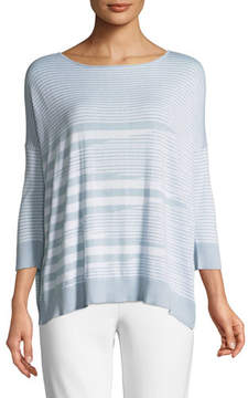 Joan Vass Mixed-Striped Cotton/Modal Sweater