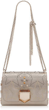 Jimmy Choo LOCKETT PETITE Vintage Silver Mix Etched Metallic Spazzolato Shoulder Bag with Graphic Star Stud Motif