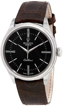 Rolex Cellini Automatic Black Dial Brown Leather Men's Watch