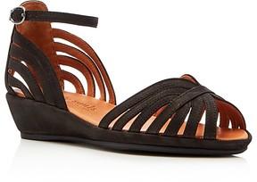 Gentle Souls Leah Metallic Ankle Strap Demi Wedge Sandals