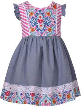 Bonnie Jean Toddler Girl Print Lace-Trim Dress