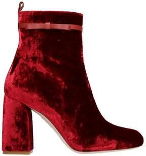 RED Valentino Velvet Bordeaux Bootie