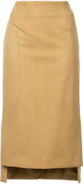 ESTNATION faux suede high low pencil skirt