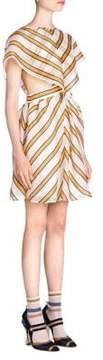 Fendi Organza Removable Capelet Dress